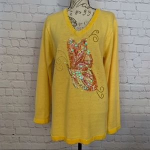 The Quacker Factory V-neck sequined sweater M